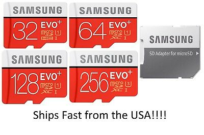 32GB 64GB 128GB 256GB SAMSUNG EVO Plus Micro SD MicroSDHC TF Memory Card Lot