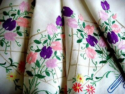 Gorgeous Vintage Floral Hand Embroidered Linen Tablecloth Sweet Peas & Daisies