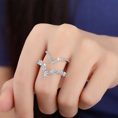 925 Sterling Silver Crystal CZ Ring Double Layer Style For Women Jewelry Size Q