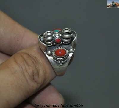 Antiques Old Tibetan pure silver Inlay turquoise Red Coral Vajra Phurpa Ring