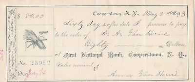 Promissory Note 1893  Cooperstown, New York