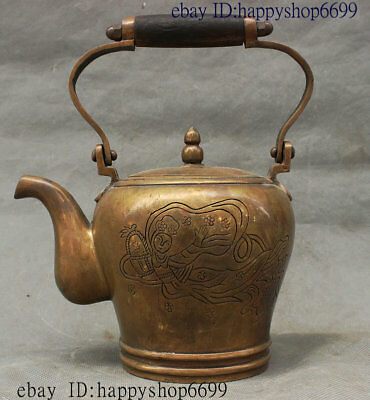 Ancient Chinese Palace Bronze People The goddess of the moon Wine Tea Pot Flagon