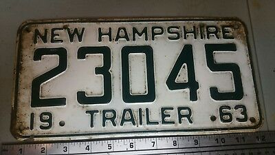 New Hampshire Trailer License Plate Vintage 1963 Tag  # 23045