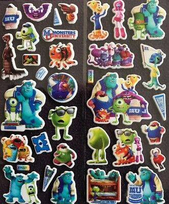 MONSTERS INC Children's Cartoon Puffy PVC Stickers 12 Packs 2 Different 6 Of Ea