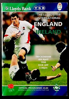 ENGLAND v IRELAND 1998 FIVE NATIONS RUGBY PROGRAMME, TWICKENHAM