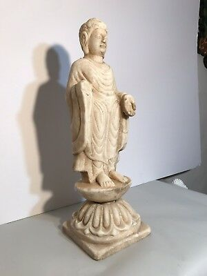 Antique 19th Century Carved Marble Statue of Buddha