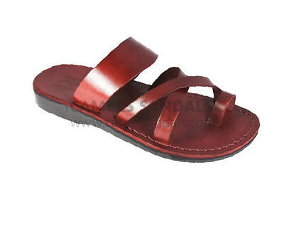 c326855e8d0 Brown Biblical Sandals Jesus Strap Jerusalem 100% Leather Shoes Men Size  6-11