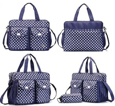 3PCs Blue Baby Nappy Changing Diaper Bag Set 3in1 Rug, Bottle Holder, mum BB03