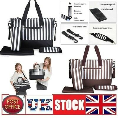 Baby Nappy Changing Bag Mommy Shoulder bag Diaper bag Buggy Pram Striped SB02