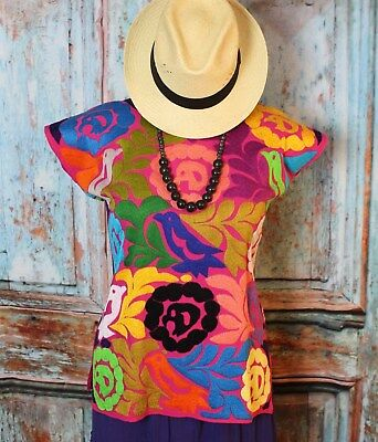 Hand Embroidered Huipil Blouse Multi-Color on Pink Jalapa Mexican Hippie Boho