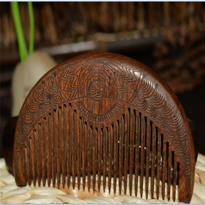 Chinese Natural Green Sandalwood Carved Wooden Fragrant Comb Anti-static G