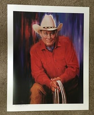 Cowboy Actor Ben Johnson 22x28 Portrait Signed by Harland Young Artist Proof #82