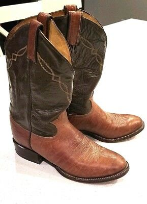 134e1066533 TONY LAMA MENS Two Tone Peanut Brown Leather Western Cowboy Boots Size 8 D  #2023