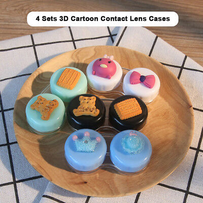 4pcs Portable Contact Lens Case Cute 3D Cartoon Travel Eyes Care Container G2D1