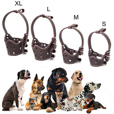Large / Small Dog Leather Pet Adjustable Muzzle Soft No Bark Bite Chew Gears