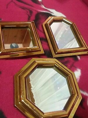 Vintage  HOME INTERIOR GOLD BRASSY FINISH ACCENT MIRRORS #2808
