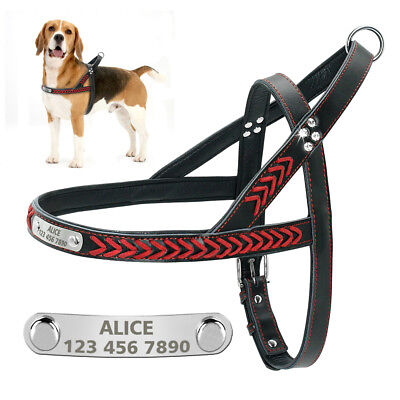 Soft Padded Leather Personalized Dog Harness Strap Vest Engraved Pet ID Name S-L