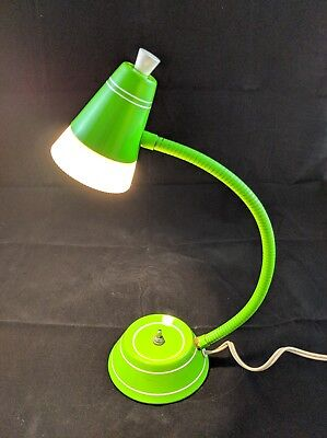 Vintage Goose Neck Lime Green Posable Desk Lamp Mid Century Modern Retro