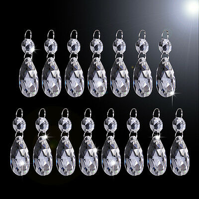 30Pcs Clear Glass Crystal Chandelier Lamp Part Drops Prisms Hanging Pendant 38mm