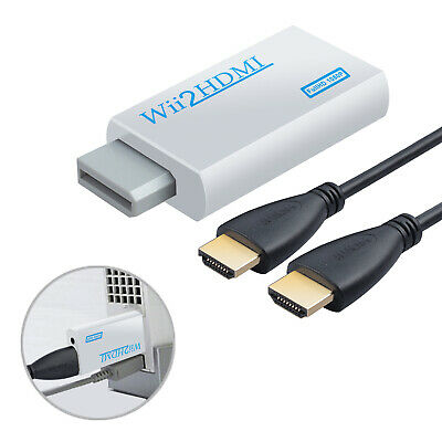 Wii To HDMI Audio Converter Adapter HDTV + HDMI Cable Signal to 720/1080p 3.5MM