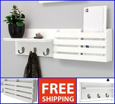 White Key Holder Mail Wall Mount Rack Organizer Letter Storage Keys Hanger Hook