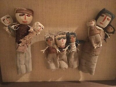Framed Window Box Of Chancay Burial Dolls From Peru