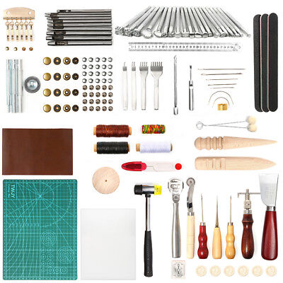 92x Leather Craft Tools Kit Hand Sewing Stitching Stamping Set Saddle Making DIY