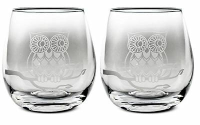 TMD Holdings Etched Owl Stemless Wine Glasses 17 Ounces Set of 2, 4, 6, 8 NEW