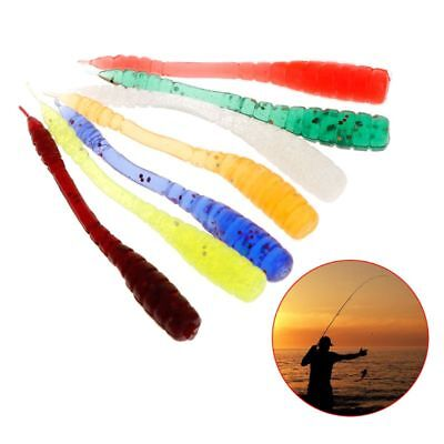 50Pcs Fishing Bait Soft Worm Silicone Toxic Non Earthworm Glow Sequins Lure Bass