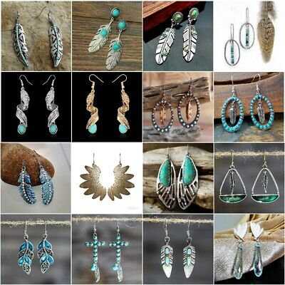 Retro Boho Feather Dangle Turquoise Engagement Wedding Party Earrings Jewelry