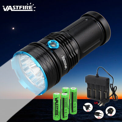 Super Bright 50000LM 12x XML T6 LED Flashlight Rechargeable Hunting Torch Light