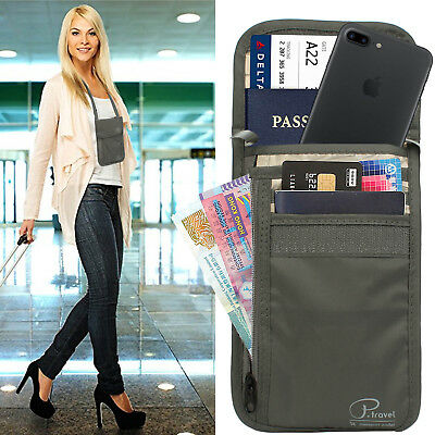 RFID Travel Neck Pouch Family Passport Wallet Bag Travel Passport Holder Unisex