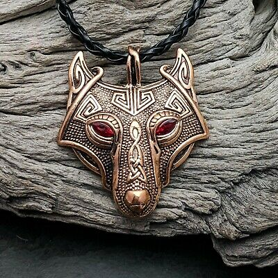Antique Bronze Tone Celtic Viking Wolf Head With Red Eyes Pendant Necklace