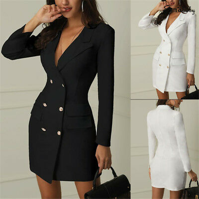 Fashion Womens Slim Double Breasted Trench Coat Dress Jacket Overcoat Belt