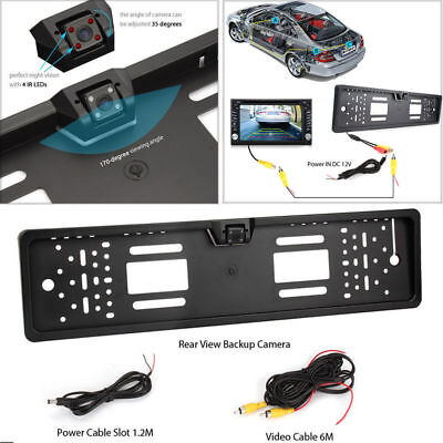 170°Angle Car HD Rear View Reverse Camera Kit Backup EU License Number Plate Cam