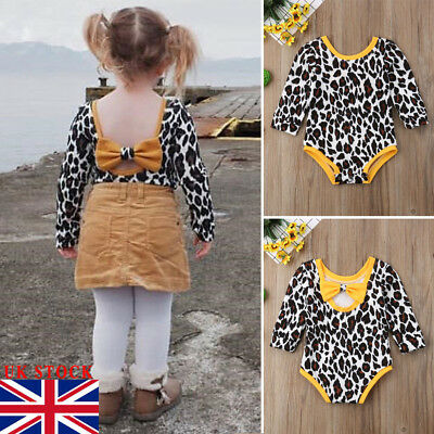 UKStock Newborn Infant Kid Baby Girl Bodysuit Romper Jumpsuit Outfit Clothes Set