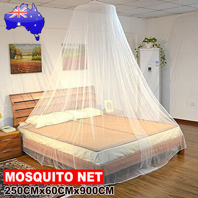 Double Single Queen Canopy Bed Curtain Dome Stopping Mosquito Insect Net White