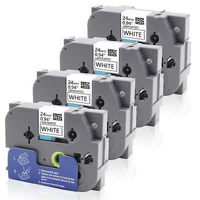 """4PK TZe-251 TZ 251 Label Tapes P-touch Compatible Brother 24mm 0.94"""" White New"""