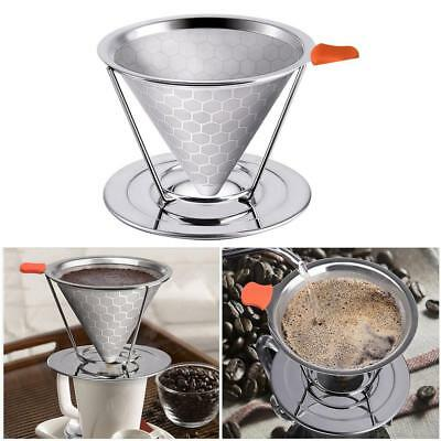 Coffee Filter Stock Cone Drip Pour Over Dripper Stainless Mesh Strainer Reusable
