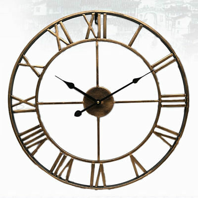 Large Outdoor Garden Wall Clock Metal Roman Numeral Round Face Golden Vintage