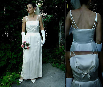 Vintage Original 50s Ivory Ss Satin Tulip Wedding Dress Size 8 10 Beauty