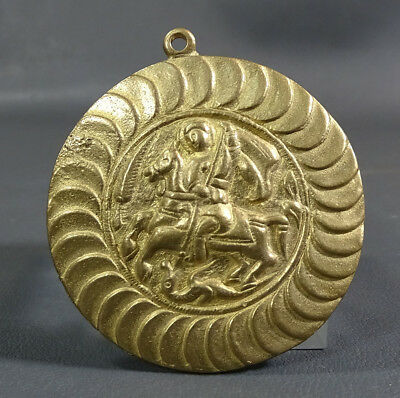 Imperial Russian Russia Orthodox Saint St George Slay Dragon Icon Brass Pendant