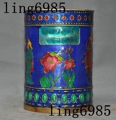 Old Chinese bronze Cloisonne flowers ancient people statue Brush Pot pencil vase