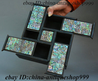 "8"" Chinese Rosewood Wood Inlay Shell 4 Open Square Storage Jewelry Box Chest Bin"