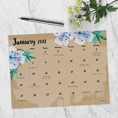 2019 Floral Mini Desk Pad Calendar