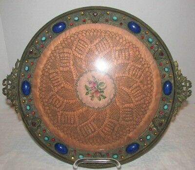VTG JEWELED BRONZE VANITY TRAY Lapis Turquoise Ribbon Handles Petite point Doily
