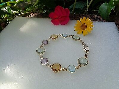 Gold Armband mit Amethyst, Citrin, Blautopas, 585 Gold Filled