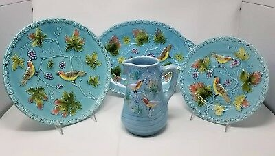 Antique MAJOLICA 230 Germany Birds Turquoise ~ Lot ~ Platter Plates Pitcher