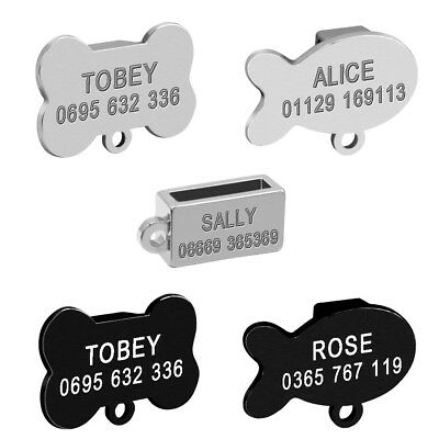 "Personalised Slide-on Dog Cat Tag for 3/8"" Collar Stainless Steel ID Name Tags"