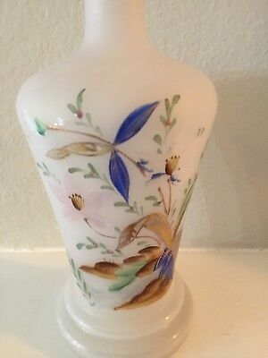"Antique Victorian Opaline Footed 7""  Czech Or English Vase Numbered Hand Painted"